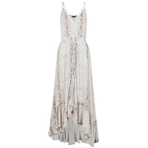 New Sexy Women Summer Snake Skin Printed Dresses Long Maxi Boho Strap V Neck Ruffle Dress Evening Party Casual White Dress Beach freeshipping - herfreespirit