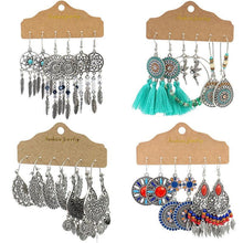 Load image into Gallery viewer, Vintage Big Round Multicolor Beaded Earrings Set for Woman Ethnic Boho Tassel Feather Long Dreamcatcher Drop Earrings Jewelry freeshipping - herfreespirit