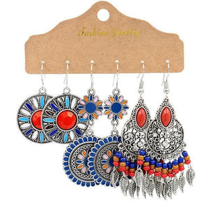 Vintage Big Round Multicolor Beaded Earrings Set for Woman Ethnic Boho Tassel Feather Long Dreamcatcher Drop Earrings Jewelry freeshipping - herfreespirit