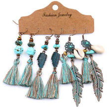 Load image into Gallery viewer, Vintage Big Round Multicolor Beaded Earrings Set for Woman Ethnic Boho Tassel Feather Long Dreamcatcher Drop Earrings Jewelry
