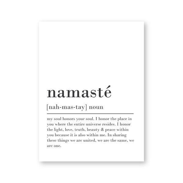 Namaste Definition Print Zen Yoga Wall Art Canvas Painting Black and White Picture Modern Minimalist Poster Home Room Wall Decor