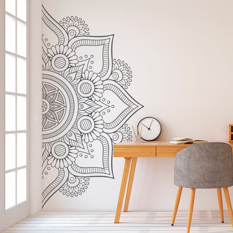 Bohemian Wall Decal Half Mandala Headboard Decals Bedroom Yoga Studio Meditation Room Home Decor Window Art Vinyl Stickers E705 freeshipping - herfreespirit