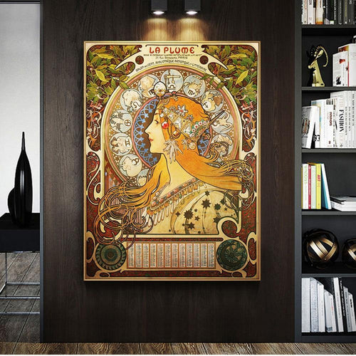 Alphonse Mucha Famous Illustration art Print on Canvas Posters And Prints Classical Art Nouveau Woman Art Pictures Home Decor freeshipping - herfreespirit