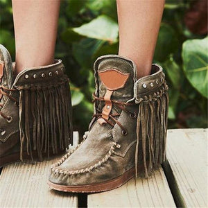 Winter Women Ankle Boots British Style Tube Frosted Tassel Boots Pop Tide Lace-Up Boho Boots Women Cowboy Shoes Botas Mujer freeshipping - herfreespirit