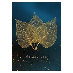 Nordic Decoration Golden Peacock Wall Art Leaf Poster and Print Canvas Painting Decorative Picture for Living Room Home Decor freeshipping - herfreespirit