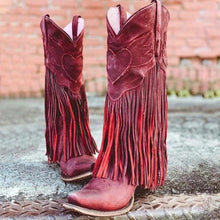Load image into Gallery viewer, Vogue Boho Women Low Heel Bohemia Style Gladiator Motorcycle Boots Fringed Cowboy Boots Shoes Spring Autumn Women Tassel Boots