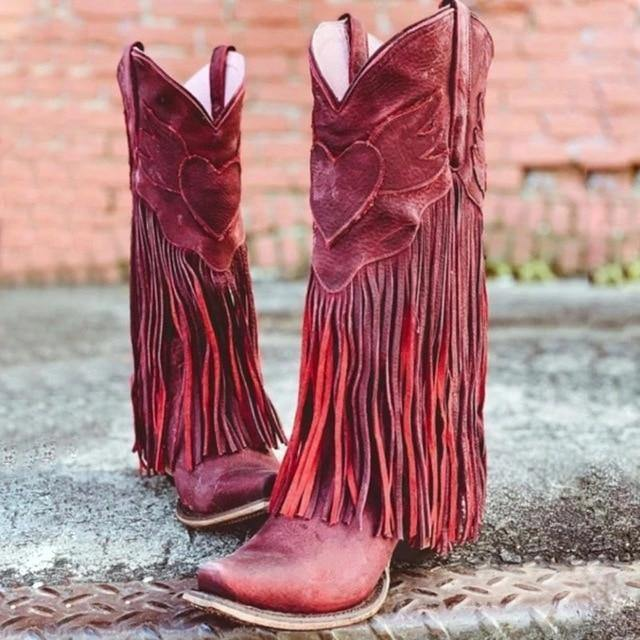 Vogue Boho Women Low Heel Bohemia Style Gladiator Motorcycle Boots Fringed Cowboy Boots Shoes Spring Autumn Women Tassel Boots
