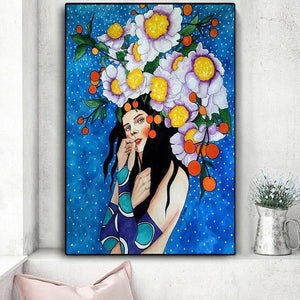 Vintage Abstract Girl Hair Flower Women Wall Art Canvas Painting Fashion Nordic Poster Wall Pictures For Living Room Unframed