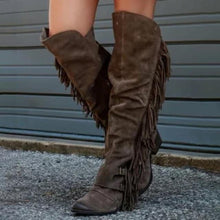 Load image into Gallery viewer, 2020 Fashion Bohemian Boho Knee High Boot Ethnic Women Tassel Fringe Faux Suede Leather Hight Booties Girl Flat Long Botas Mujer freeshipping - herfreespirit