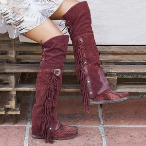 2020 Fashion Bohemian Boho Knee High Boot Ethnic Women Tassel Fringe Faux Suede Leather Hight Booties Girl Flat Long Botas Mujer freeshipping - herfreespirit