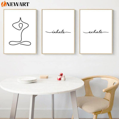 Yoga Room Decorative Wall Art Home Decor Zendo Decoration Poster Inhale Exhale Print Picture Simple and Relaxed Canvas Painting freeshipping - herfreespirit