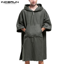 Load image into Gallery viewer, Solid Color Men Hoodies Half Sleeve Pockets Quick Dry Loose Hooded Sweatshirts Vacation Beach Cloak Sun Protect Pullover INCERUN