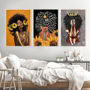 Africa Sexy Queen Black Woman Nordic Poster And Print Wall Art Abstract Canvas Painting Print Wall Pictures For Living Room Club freeshipping - herfreespirit