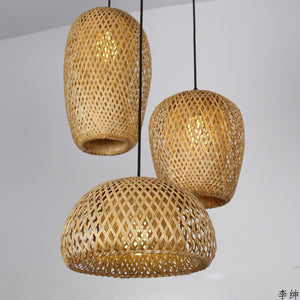 Chinese Hand Knitted Bamboo Art Pendant Lights Restaurant Caf Loft Hanging Pendant Lamp Home Decor Bamboo Led Light Fixtures