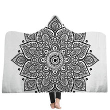 Load image into Gallery viewer, Bohemian Hooded Blanket For Adults MandalaSoft Warm Wearable Blanket Fleece Microfiber Throw Blanket  Winter Bed Throw