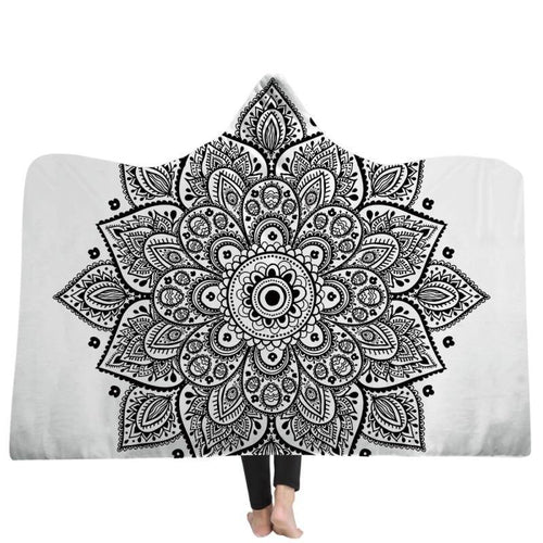Bohemian Hooded Blanket For Adults MandalaSoft Warm Wearable Blanket Fleece Microfiber Throw Blanket  Winter Bed Throw freeshipping - herfreespirit