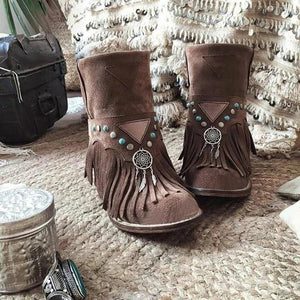 2020 Winter Boots Women Boots Warm Shoes Retro Fringe Boots Boho Women Tassel Faux Suede Leather Ankle Boots For Woman Shoes