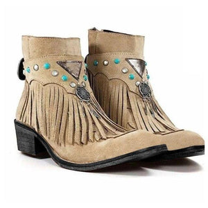 2020 Winter Boots Women Boots Warm Shoes Retro Fringe Boots Boho Women Tassel Faux Suede Leather Ankle Boots For Woman Shoes freeshipping - herfreespirit