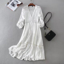Load image into Gallery viewer, 2020 Summer Women Long Tunic Beach Dress Sundress Long Sleeve White Lace Sexy Boho Maxi Dress Holiday Clothes freeshipping - herfreespirit