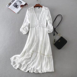 2020 Summer Women Long Tunic Beach Dress Sundress Long Sleeve White Lace Sexy Boho Maxi Dress Holiday Clothes freeshipping - herfreespirit