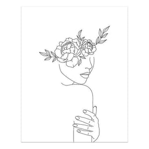 Sexy Lady Body Line Drawing Canvas Poster Abstract Women Nude Art Painting Hand Print Yoga Girl Flower Picture Home Wall Decor freeshipping - herfreespirit
