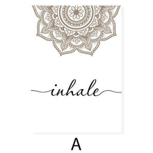 Load image into Gallery viewer, Bohemian Exhale Inhale Mandala Mindfulness Zen Wall Art Print Poster Picture Canvas Painting Yoga Room Living Room Home Decor freeshipping - herfreespirit