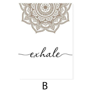 Bohemian Exhale Inhale Mandala Mindfulness Zen Wall Art Print Poster Picture Canvas Painting Yoga Room Living Room Home Decor freeshipping - herfreespirit