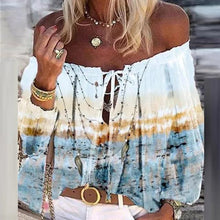 Load image into Gallery viewer, 2020 Boho Blouse Elegant Floral Print Flare Sleeve Shirt Sexy Lace-up Tassel Off Shoulder Women Tops Spring Summer Chic Blouses freeshipping - herfreespirit