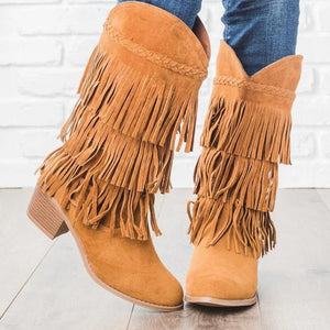 WENYUJH New Woman Bohemian Boho Heel Boot Ethnic Women Tassel Fringe Faux Suede Girl Leather Ankle Boots Flat Shoes Booties freeshipping - herfreespirit