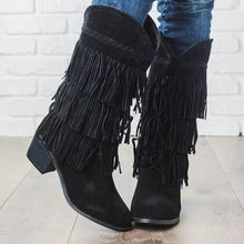 Load image into Gallery viewer, WENYUJH New Woman Bohemian Boho Heel Boot Ethnic Women Tassel Fringe Faux Suede Girl Leather Ankle Boots Flat Shoes Booties freeshipping - herfreespirit