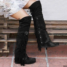 Load image into Gallery viewer, New Fashion Boho Boho Knee High Boots Ethnic Women Fringed Tassel Faux Suede Leather High Boots Girls Flat Length freeshipping - herfreespirit