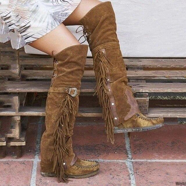 New Fashion Boho Boho Knee High Boots Ethnic Women Fringed Tassel Faux Suede Leather High Boots Girls Flat Length freeshipping - herfreespirit