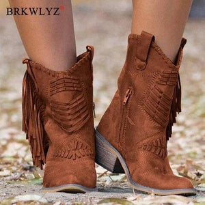2020 Boots Women Boho Flock Fringe Women Boots Fringe Low Heels  Mid-calf Solid Boot  Tassel Botas Mujer Female Shoes freeshipping - herfreespirit