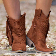 Load image into Gallery viewer, 2020 Boots Women Boho Flock Fringe Women Boots Fringe Low Heels  Mid-calf Solid Boot  Tassel Botas Mujer Female Shoes freeshipping - herfreespirit