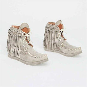 Winter Women Ankle Boots British Style Tube Frosted Tassel Boots Pop Tide Lace-Up Boho Boots Women Cowboy Shoes Botas Mujer