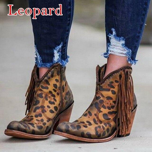Bohemian Boho Heel Boot Ethnic Women Tassel Fringe Faux Suede Leather Ankle Boots 2020 Woman Girl Flat Shoes Booties freeshipping - herfreespirit