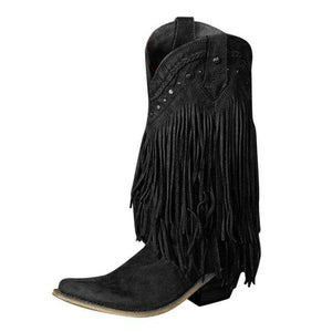 Winter 2020 Women Booots With Heels Boho Pointed Toe Fringe Female Shoes Retro Rivet Taseel Embroider Shoes  Botas De Mujer freeshipping - herfreespirit