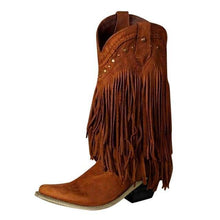 Load image into Gallery viewer, Winter 2020 Women Booots With Heels Boho Pointed Toe Fringe Female Shoes Retro Rivet Taseel Embroider Shoes  Botas De Mujer freeshipping - herfreespirit