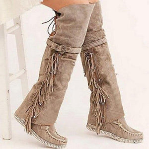 2020 Fashion Bohemian Boho Knee High Boot Ethnic Women Tassel Fringe Faux Suede Leather Hight Booties Girl Flat Long Botas Mujer