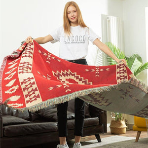 Bohemian Style Geometry Ethnic Decorative Blanket Red Sofa Throw Blanket Leisure Knitted Floor Cloth Carpet Wall Tapestry Decor