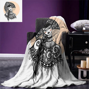 Russian Throw Blanket Ethnic Slavic Woman in Folk Clothes Ornamental Moscow Graphic Art Warm Blanket for Bed Couch Black White