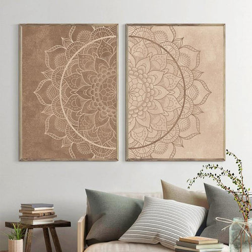 Mandala Wall Art Pictures Neutral Color Brown Boho Posters and Prints Canvas Painting Yoga Gift Living Room Bedroom Decoration freeshipping - herfreespirit