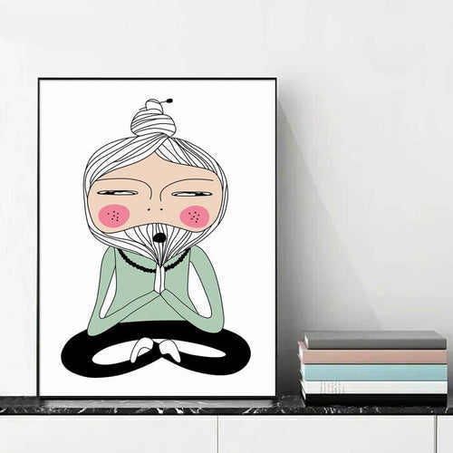Nordic Posters Prints Lotus Yoga Pose Meditation Master Wall Art Canvas Painting Home Decoration Modular Pictures Living Room freeshipping - herfreespirit