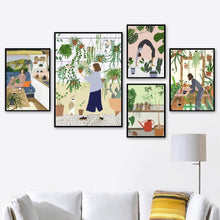 Load image into Gallery viewer, Boho Girl Grow flowers Yoga Nordic Poster Abstract Wall Art Print Canvas Painting Plant Wall Pictures For Living Room Home Decor freeshipping - herfreespirit