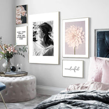Load image into Gallery viewer, Sunlight Girl Dahlia Rose Quotes Landscape Wall Art Canvas Painting Nordic Posters And Print Wall Pictures For Living Room Decor