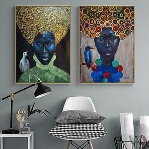 Modern Abstract African Women Portrait Oil Painting on Canvas Art Scandinavian Posters and Prints Wall Picture for Living Room freeshipping - herfreespirit