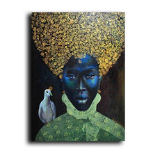 Load image into Gallery viewer, Modern Abstract African Women Portrait Oil Painting on Canvas Art Scandinavian Posters and Prints Wall Picture for Living Room freeshipping - herfreespirit