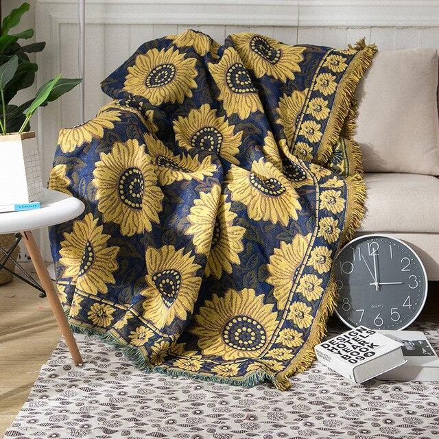 European Style Throw Blanket Sunflower Cotton Knitting Woven Nap Sofa Office Blanket Three-Layer Thick Bedroom Bed Couch Cover freeshipping - herfreespirit