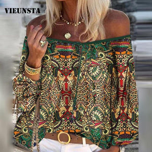 2020 Boho Blouse Elegant Floral Print Flare Sleeve Shirt Sexy Lace-up Tassel Off Shoulder Women Tops Spring Summer Chic Blouses freeshipping - herfreespirit