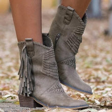 Load image into Gallery viewer, New Boho Flock Leather Women Boots Fringe Flat Heels Woman Med High Solid Boots Woman Tassel Botas Mujer Botte Femme
